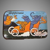 Tindeco Animals Playing Sports 'Happiness Candy Stores' Tin Litho Pail HTF