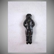 Tiny Frozen Charlotte Type Metal Cracker Jack Doll c.1930
