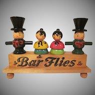 Wooden Bar Flies 5 Piece Hand Painted Bar Utensil Counter Top Set