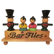 Wooden Bar Flies 5 Piece Hand Painted Bar Utensil Counter Top Set