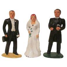 Barclay Slush Metal 3 Piece Wedding Cake Topper Set 1930s