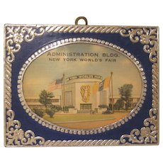 New York World's Fair 1939 Administration Building Wooden with Foil Layer Plaque
