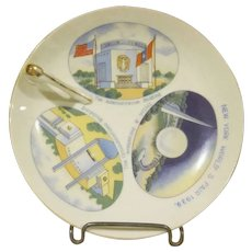 New York World's Fair 1939 Ceramic Handled Lemon Dish with Three Scenes Made in Japan
