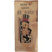 New York 1939 Worlds Fair Mr. Peanut Wooden Pin on Original Card