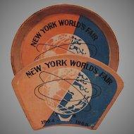 New York 1964 World's Fair 6 Wooden Coasters with Rack Unisphere