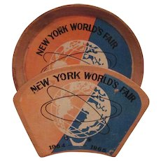 New York 1964 World's Fair 6 Wooden Coasters with Rack Unisphere