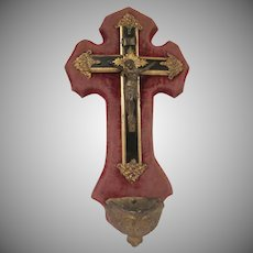 Victorian French Crucifix Holy Water Font Benitier 1910s