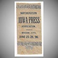 Northeastern Iowa Press Association Silk Ribbon 1896