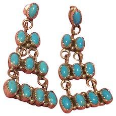 Signed Sleeping Beauty Sterling Pierced Earrings