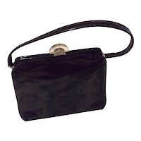Vintage Theodor California Black Patent Leather Footed Handbag Excellent Condition  Free Shipping