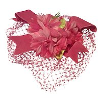 Vintage Pink/Hot Pink Floral Netted Hat Fascinator Sound Condition Free Shipping