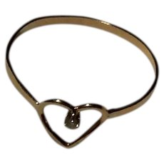 Vintage 14K Double Heart Ring Sz 4 1/2 Free Shipping