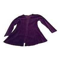 Vintage Purple Velvet Swing Jacket Sz S Free Shipping