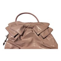 Valentino Blush Pink Patent Leather Petal Bow Tote Bag Free Shipping