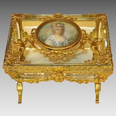 On Hold. French Baccarat Glass Vitrine Casket Dore Bronze Mounts Portrait Miniature