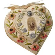 French Religious Convent Relic Handmade Heart Embroidery Paintings Prayers