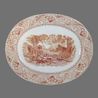 "Large Antique Brown Transferware Meat Platter 17.25"" Brown Westhead, Moore & Co."