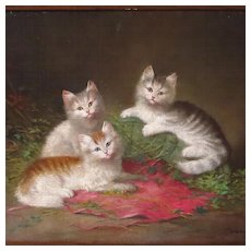 Three Kittens Antique Oil Painting Signed