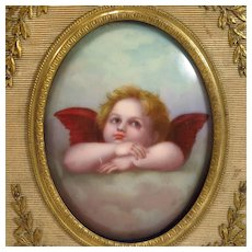 French Bronze Picture Frame Cherub Porcelain Painting