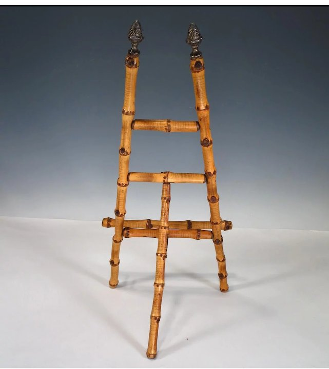 Vintage Bamboo Table Top Easel Picture Holder