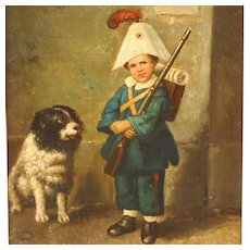 Antique Oil Painting Boy with Dog