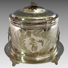 On hold.    Antique English Silver Plate Biscuit Box Aesthetic Movement Fern Motif Lion's Head Handles