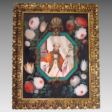Flemish Oil on Paper Religious Painting Saint Blaise