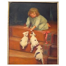 Antique Painting on Porcelain Young Girl and Puppies