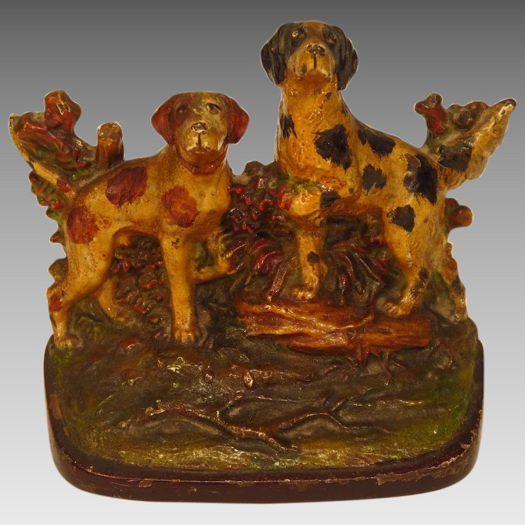 Antique Cast Iron Door Stop Hunting Dogs
