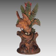 Antique Folk Art Wood Carving Bird on Nest