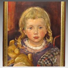 Young Girl with Teddy Bear Oil Portrait