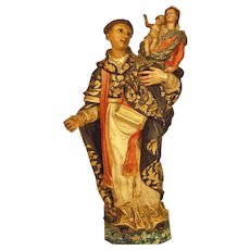 19th Century Santos Religious Sculpture Terracotta Polychrome St. Anthony with Madonna and Child