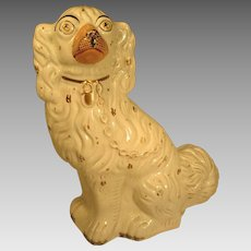 Large Antique Staffordshire King Charles Spaniel White #1