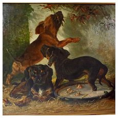 Large Oil Painting Three Dachshund Puppies Signed