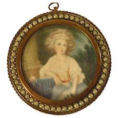Antique Portrait Miniature Lady in Garden Jeweled Frame