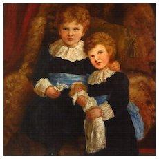 Antique Oil Portrait Two Young Sisters Interior Scene