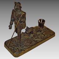 Large Bronze Figural Match Holder Striker