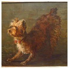 Large Antique Terrier Dog Oil Portrait