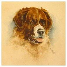 Miniature Saint Bernard Dog Portrait Watercolor Signed