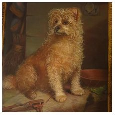 Large Antique Terrier Dog Portrait English Signed Dated