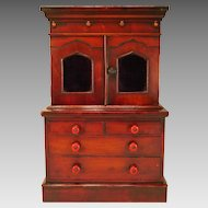 Miniature Antique English Stepback Cabinet Doll Furniture C.1850