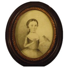 Georgian Miniature Portrait Girl Holding Bird Signed c.1768