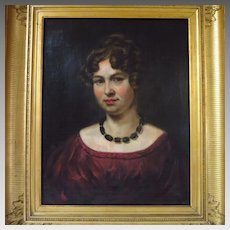 Large French Oil Portrait Beautiful Young Woman 19th Century Painting