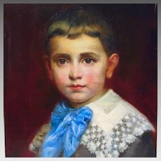 19th Century French Oil Portrait Painting Young Boy