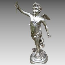 Large Cupid Angel Silvered Sculpture with Candelabra