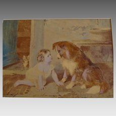 "Vintage Print Baby and Dog Titled ""Can't You Talk"""