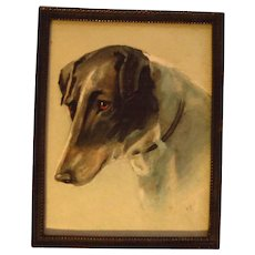 Miniature Watercolor Painting Jack Russell Terrier Signed Dated 1916