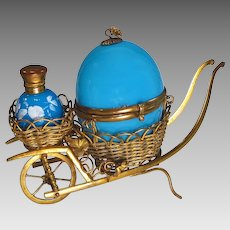 Antique French Blue Opaline  Perfume Egg Casket in Wheelbarrow