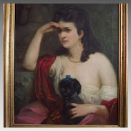 19th Century Oil Portrait Beautiful Woman Holding Her Dog