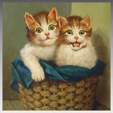 Two Kittens in Basket Oil Painting Hans Fenger
